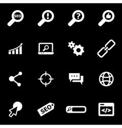 white seo icon set vector image vector image