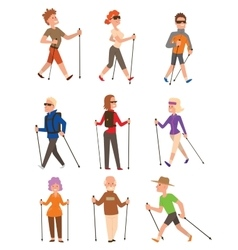 Nordic walking sport people vector
