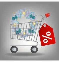 Shopping cart and christmas wreath vector