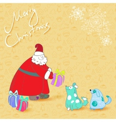 Fun christmas card santa and blue dogs vector