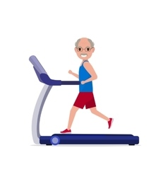 cartoon grandfather running on treadmill vector image