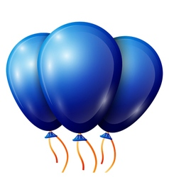 Realistic blue balloons with ribbon isolated on vector