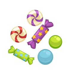 Candy comfits and caramel bonbons confectionery vector