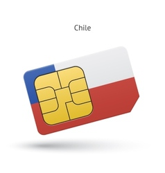 Chile mobile phone sim card with flag vector