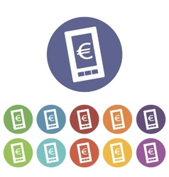 Euro phone flat icon vector
