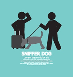 Sniffer dog smell at travellers luggage vector