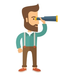 Man with binocular vector