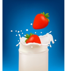 Splash milk with strawberries vector