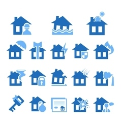 Property and house insurance icon set vector