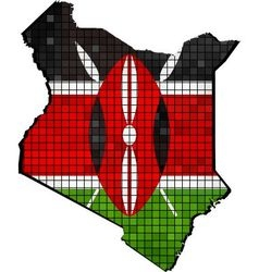 Kenya map with flag inside vector