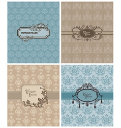 Vintage invitation cards vector