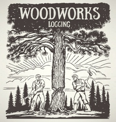 Loggers cutting down tree vector
