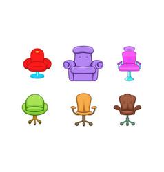 armchair icon set cartoon style vector image