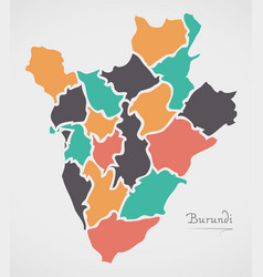 Burundi map with states and modern round shapes vector
