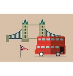 Bus flag bridge london england design vector