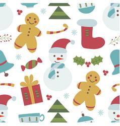 childish christmas seamless pattern vector image vector image