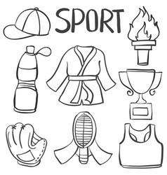 collection stock of sport equipment doodles vector image vector image