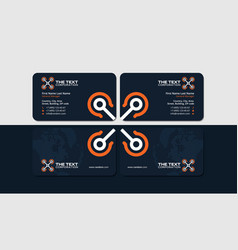 dark business card with orange helicopter vector image vector image