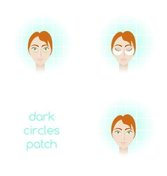 Face care - using dark circles patch vector