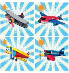 four designs of airplanes on sky background vector image