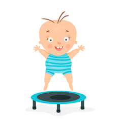 Happy cartoon baby boy jumping on a trampoline vector