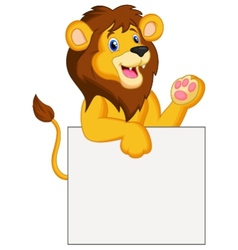 Happy lion cartoon holding blank sign vector