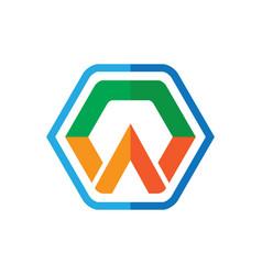 hexagon arrow business logo vector image vector image