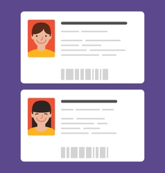 Id cards with the cute persons vector