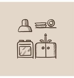 Kitchen interior sketch icon vector