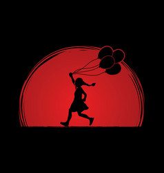 Little girl running with balloons graphic vector