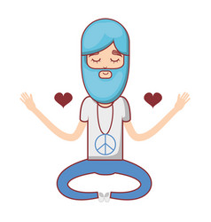 Man meditation with hearts and beard vector