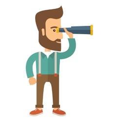 Man with binocular vector image