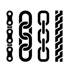 Metal chain parts icons set on white background vector image vector image