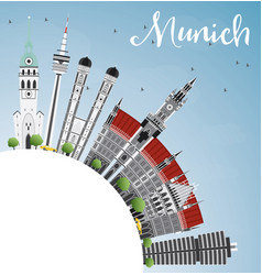 munich skyline with gray buildings blue sky vector image vector image