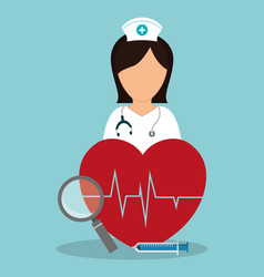 nurse medical heartbeat loupe syringe vector image vector image