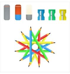 pencil sharpener and eraser vector image
