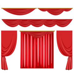 Red curtains in different styles vector