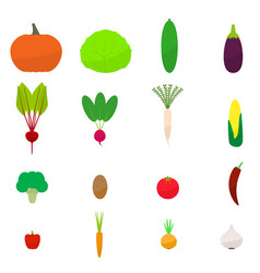 Set flat colored vegetables icon vector