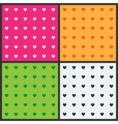 Set of seamless patterns with hearts vector image vector image