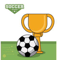 Soccer sport trophy ball design image vector