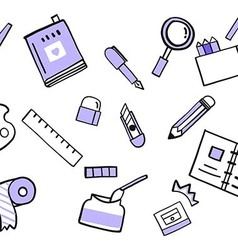 Stationery doodle vector