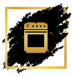 Stove sign golden icon at black spot vector
