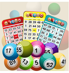 Three bingo cards and bingo balls background vector