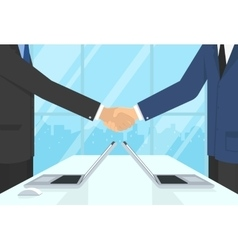 Two businessmen wearing suits and staying in the vector image vector image