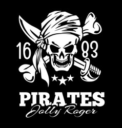 vintage label pirates skull vector image vector image