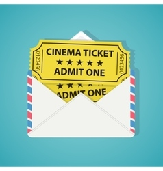 White envelope with two vintage cinema tickets vector