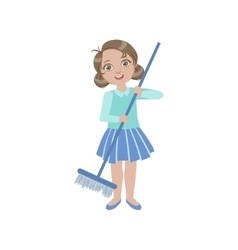 Girl sweeping the floor with the broom vector