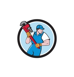 Plumber holding pipe wrench circle cartoon vector