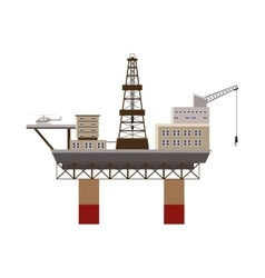 Oil rig at sea icon cartoon style vector