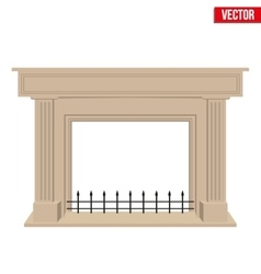 Traditional fireplace flat style design vector